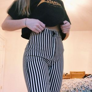 Black and Cream Pinstriped Pants - Brandy Melville